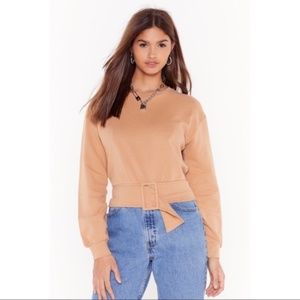 NASTY GAL Camel Tan Belted Sweater